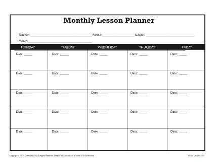 Kindergarten Weekly Lesson Plan Template Monthly Lesson Plan Template Secondary