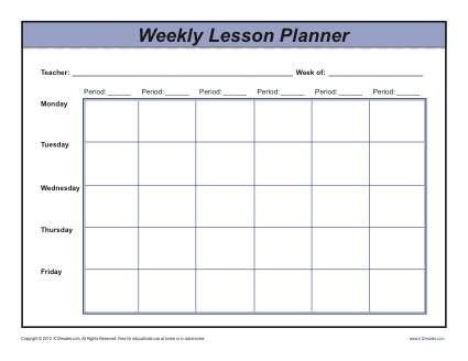 Kindergarten Weekly Lesson Plan Template Weekly Multi Period Lesson Plan Template Secondary