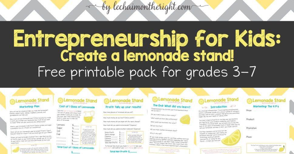 Lemonade Stand Business Plan Template Entrepreneurship for Kids Lemonade Stand with Free