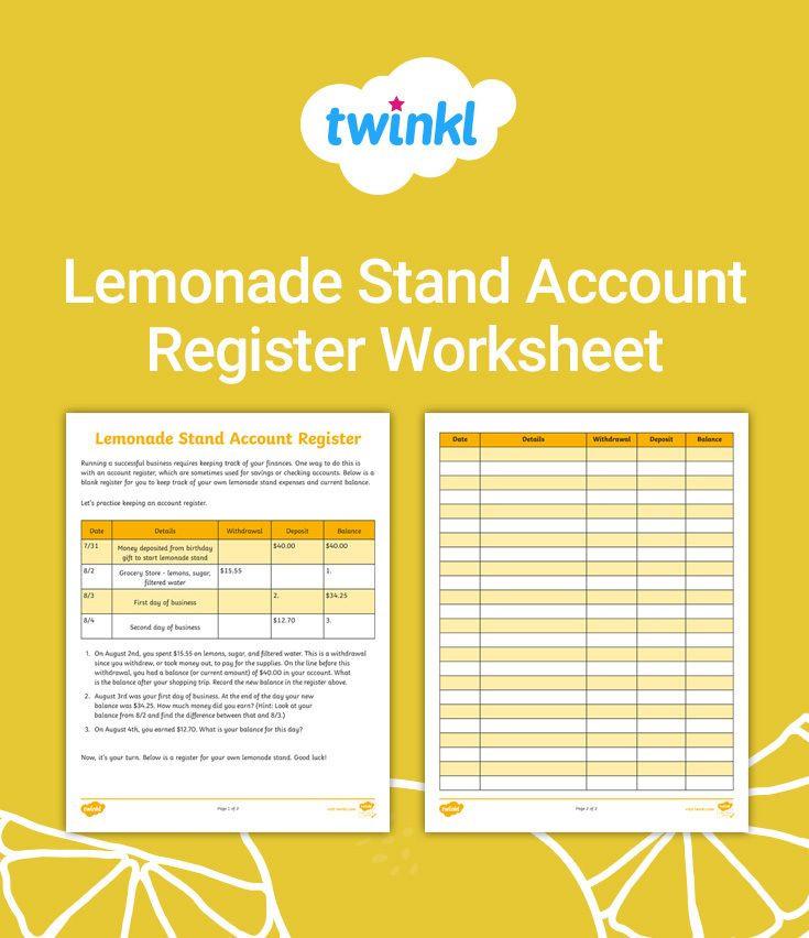 Lemonade Stand Business Plan Template Lemonade Stand Account Register