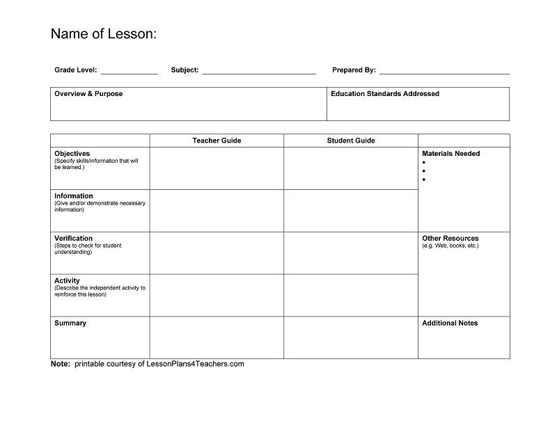 Lesson Plan Blank Template Lesson Plan Template Word