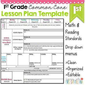 Lesson Plan Template Common Core 1st Grade Mon Core Lesson Plan Template