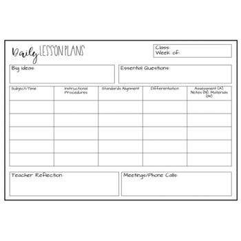 Lesson Plan Template Daily Editable Lesson Plan Template Freebie