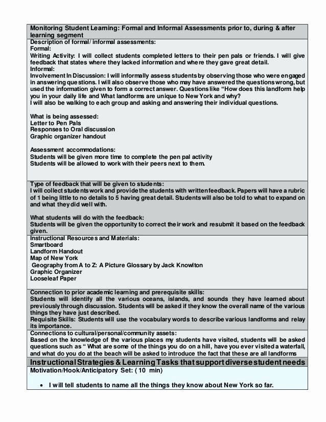 Lesson Plan Template for Edtpa Lesson Plan Template Nyc Best Edtpa Lesson Plan Template