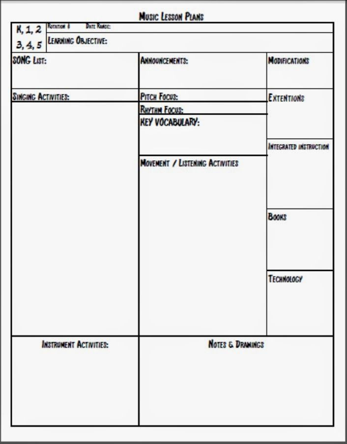 Lesson Plan Template for Elementary Melodysoup Blog Music Lesson Plan Template