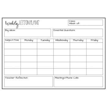 Lesson Plan Template for Kindergarten Editable Lesson Plan Template Freebie
