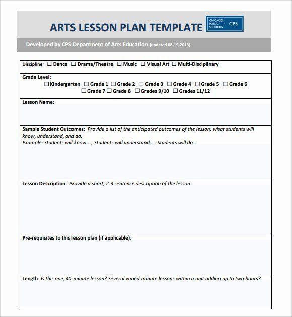 Lesson Plan Template for Kindergarten Elementary Lesson Plan Template Word Inspirational Sample