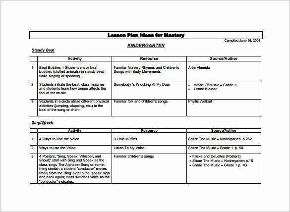 Lesson Plan Template for Kindergarten Preschool Lesson Plan Template Free Elegant Kindergarten