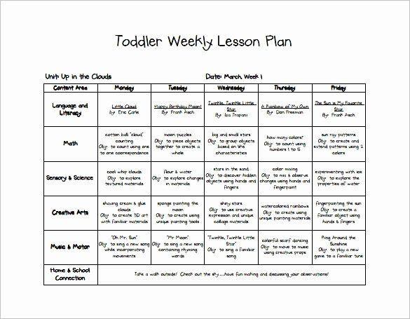 Lesson Plan Template for Kindergarten toddler Lesson Plan Template Lovely Early Childhood Lesson