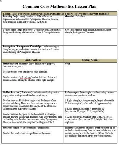 Lesson Plan Template for Math Ccss Math Lesson Plan Template New Mon Core Math Lesson Plan