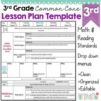 Lesson Plan Template for Math Third Grade Mon Core Lesson Plan Template