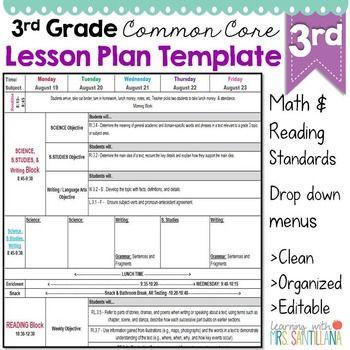 Lesson Plan Template for Math Third Grade Mon Core Lesson Plan Template