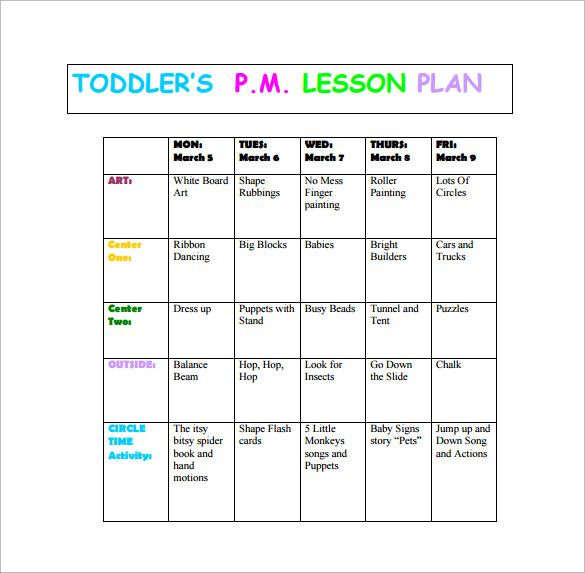 Lesson Plan Template for toddlers Pdf Word Excel Free & Premium Templates
