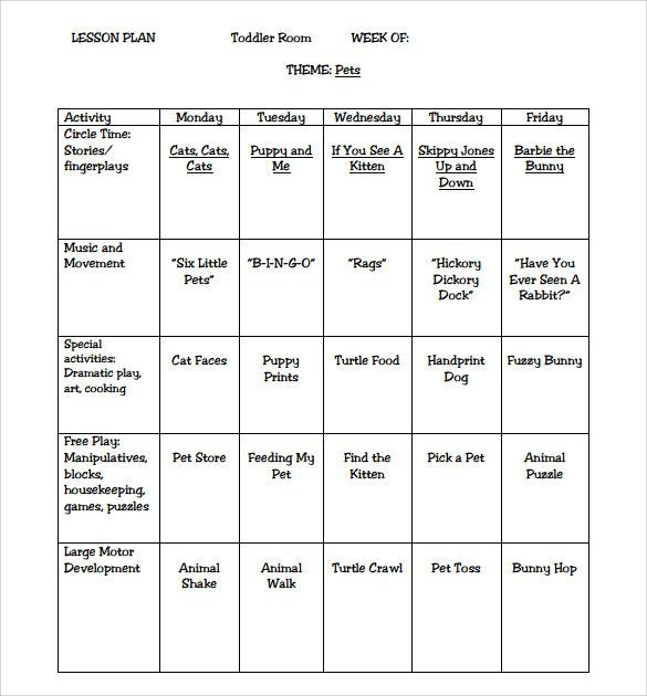 Lesson Plan Template for toddlers Pin On Preschool Activities