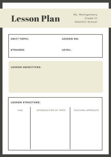 Lesson Plan Template Free Pin by Jenny Younker On Cte Hsmt Pathways Classes
