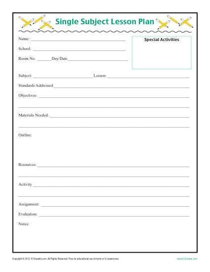 Lesson Plan Template Free Printable Daily Single Subject Lesson Plan Template Elementary