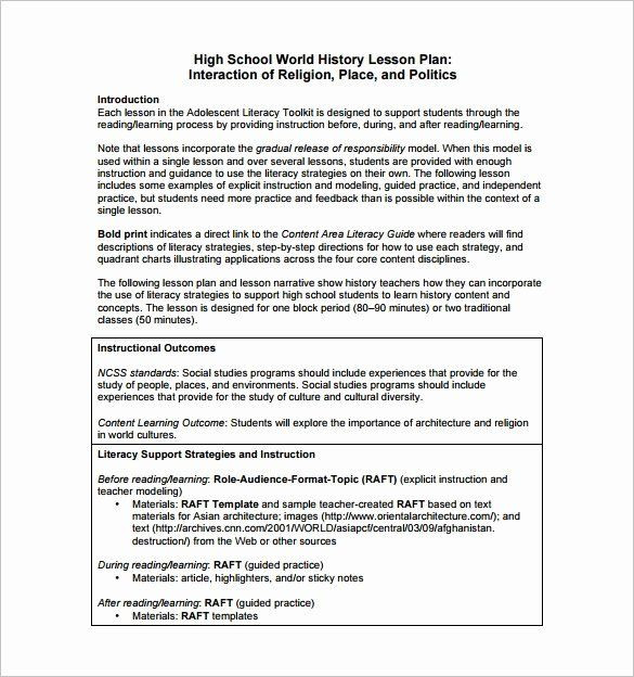 Lesson Plan Template High School social Stu S Lesson Plan Templates Inspirational High