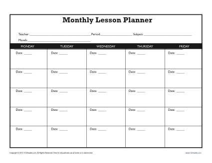 Lesson Plan Template Kindergarten Monthly Lesson Plan Template Secondary