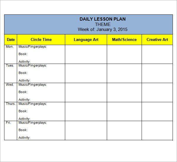 Lesson Plan Template Kindergarten Preschool Lesson Plan Template