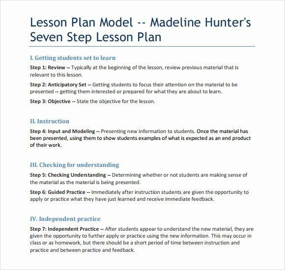 Lesson Plan Template Madeline Hunter Hunter Lesson Plan Template Elegant Madeline Hunter Lesson