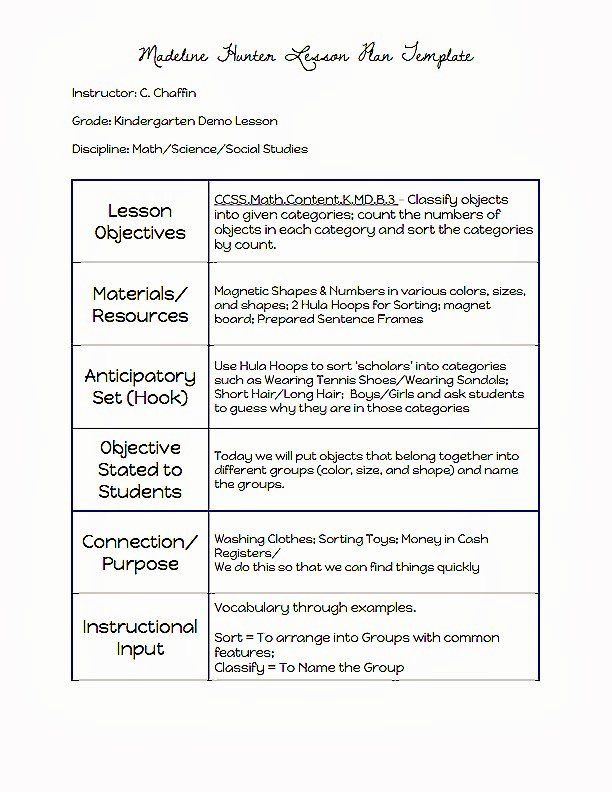 Lesson Plan Template Madeline Hunter Hunter Lesson Plan Template Inspirational Mon Core Blogger