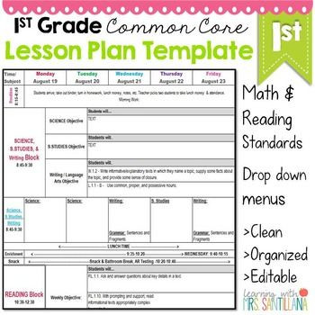 Lesson Plan Template Math 1st Grade Mon Core Lesson Plan Template
