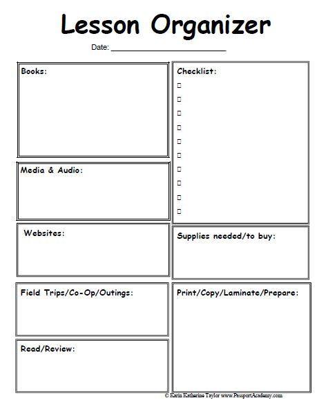 Lesson Plan Template Preschool Printable Homeschool Lesson Planner Pages