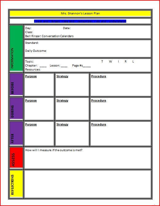 Lesson Plan Template Preschool Printable Lesson Plan Template