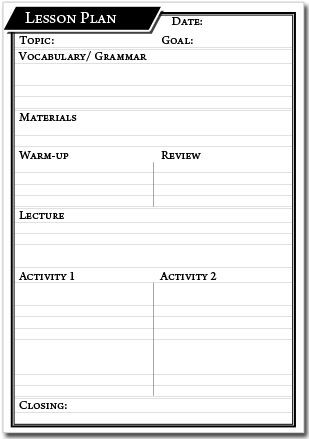 Lesson Plan Template Printable Printable Lesson Plan Template – English Genie