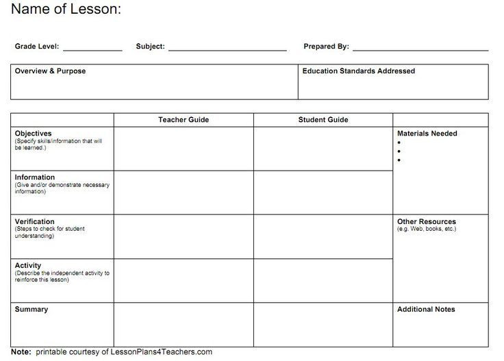 Lesson Plan Template Printable Teacher Lesson Plan Templates
