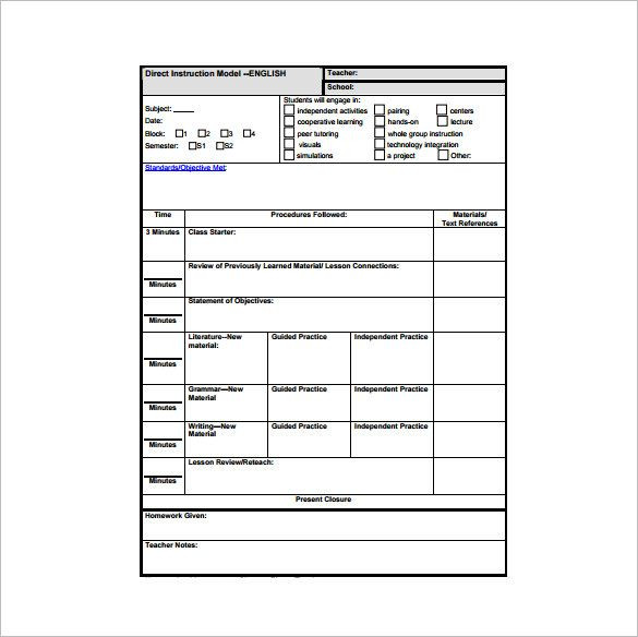 Lesson Plan Template Word 10 Free Word Pdf Documents Download