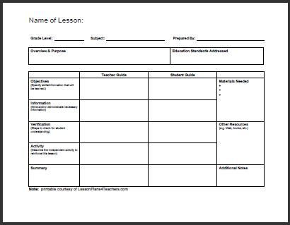 Lesson Plans for Elementary Template Daily Lesson Plan Template 1