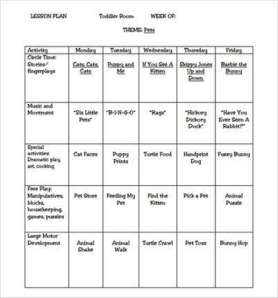 Lesson Plans Template for Preschool Sample toddler Lesson Plan Template