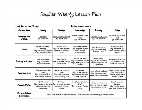 Lesson Plans Template for toddlers 9 Free Pdf Word format Download
