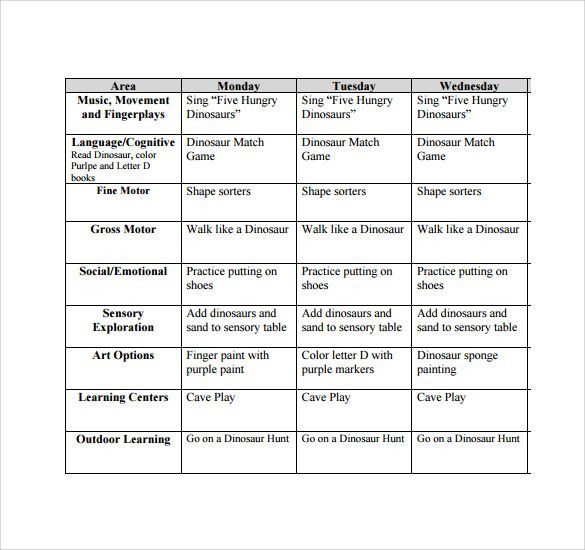 Lesson Plans Template for toddlers Free toddler Lesson Plan Template