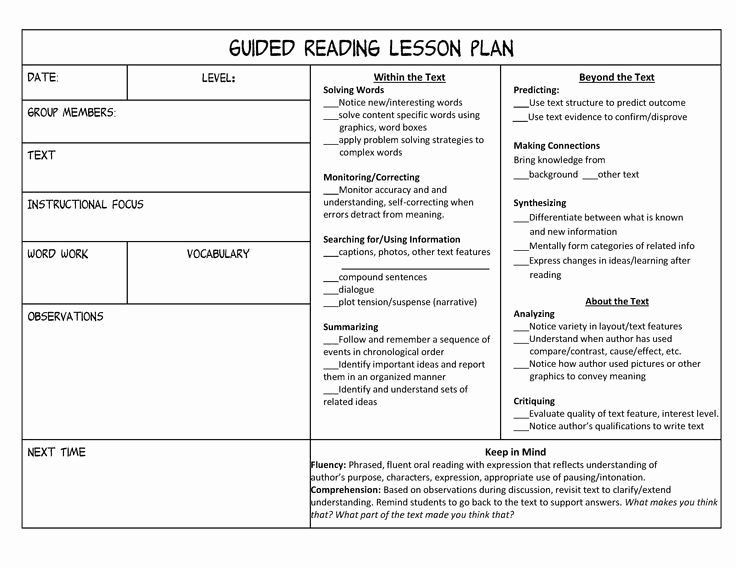 Lli Lesson Plan Template Guided Reading Lesson Plans Beautiful Guided Reading