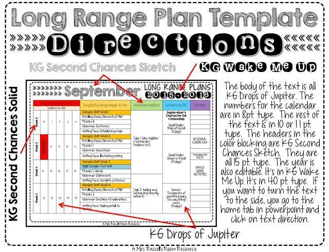 Long Range Lesson Plan Template Long Range Plan Template Directions