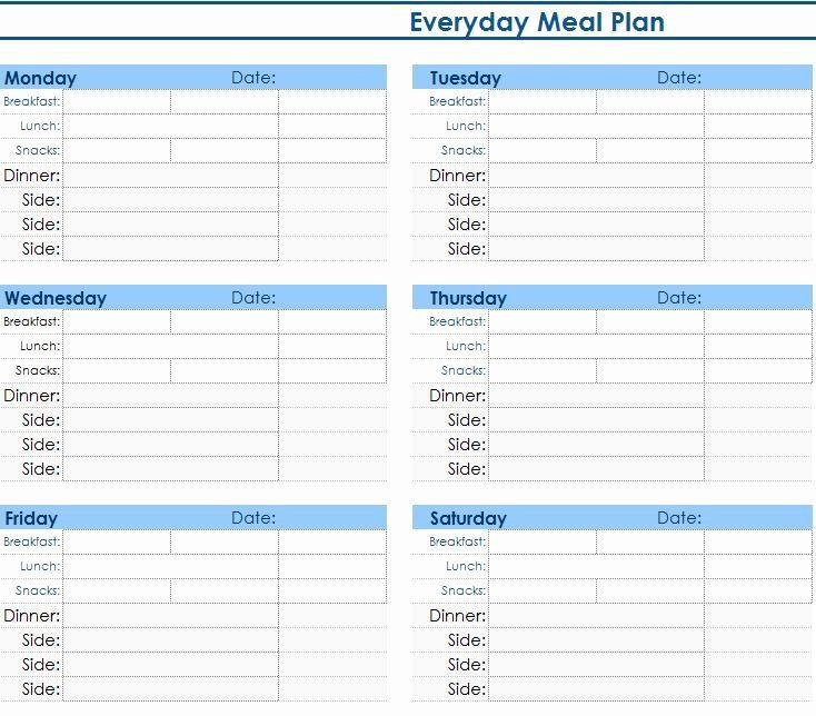 Macro Meal Planner Template Meal Plan Spreadsheet Template Fresh Daily Meal Planner My