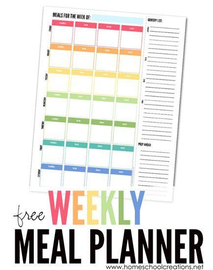 Macro Meal Planner Template Weekly Meal Planner Plan A Week S Meals Free Printable