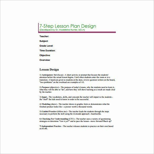 Madeline Hunter Lesson Plan Template Hunter Lesson Plan Template Fresh 6 Madeline Hunter Lesson