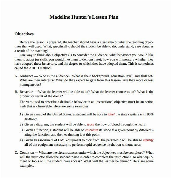 Madeline Hunter Lesson Plan Template Hunter Lesson Plan Template Fresh Sample Madeline Hunter