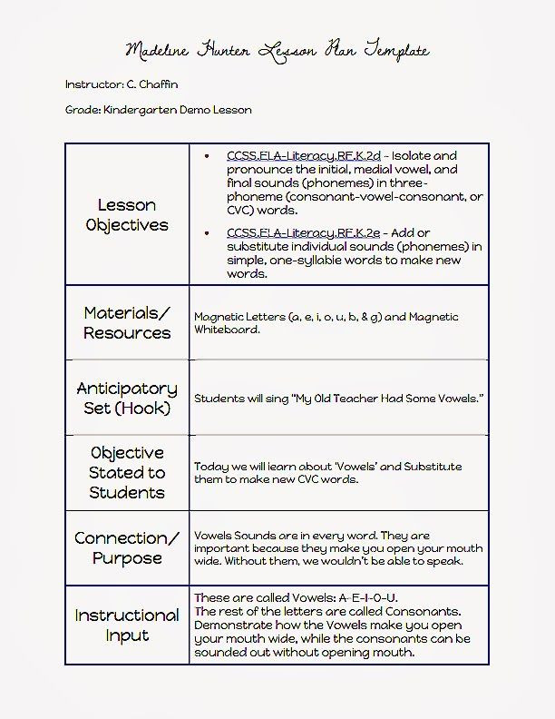 Madeline Hunter Lesson Plan Template Madeline Hunter Lesson Plan Template