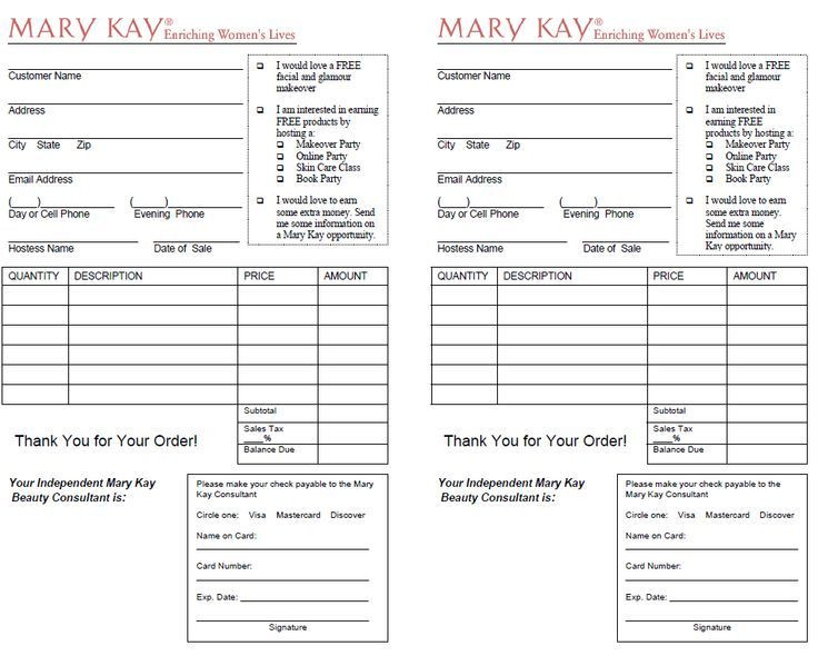 Mary Kay Business Plan Template Image Result for Outside order form Mary Kay
