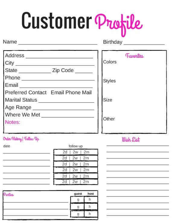 Mary Kay Business Plan Template Printable Customer Profile Direct Sales Affiliate Image 1