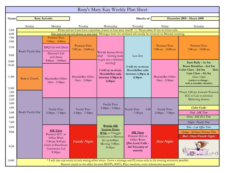 Mary Kay Business Plan Template Weekly Plan Sheet Example 1650—1275