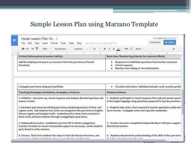 Marzano Lesson Plan Template Doc Marzano Lesson Plan Template Doc Fresh Marzano Lesson Plan