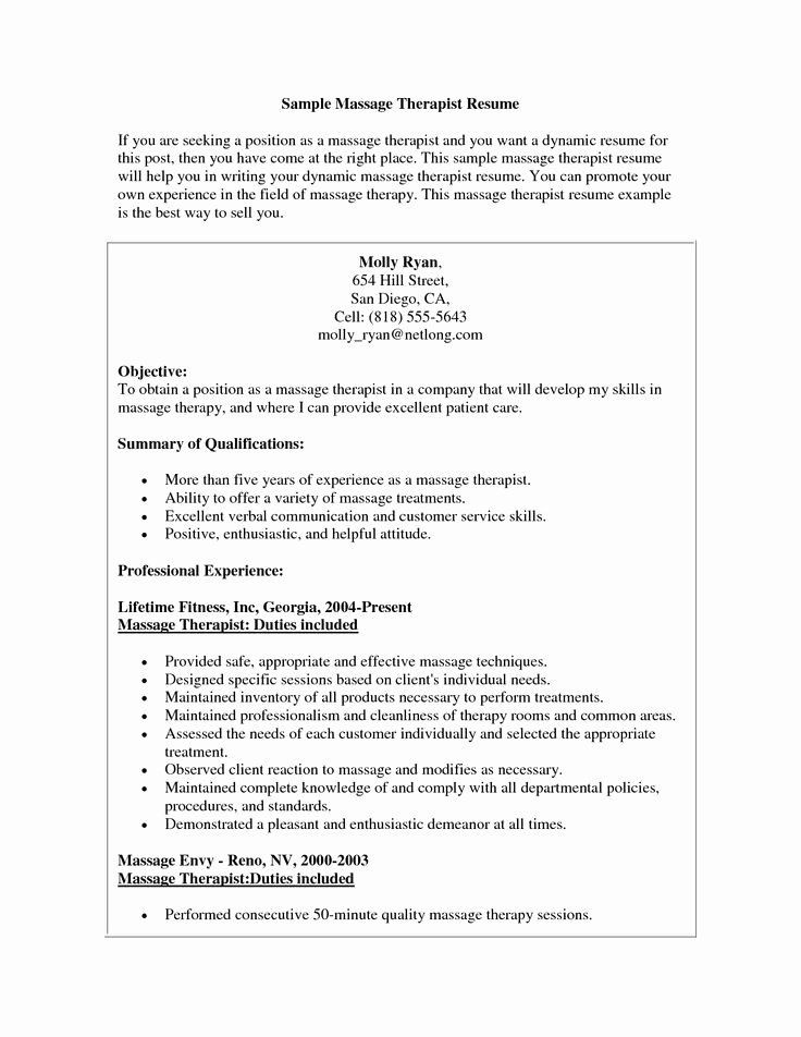 Massage therapy Treatment Plan Template Massage therapy Resume Template Best Massage therapist