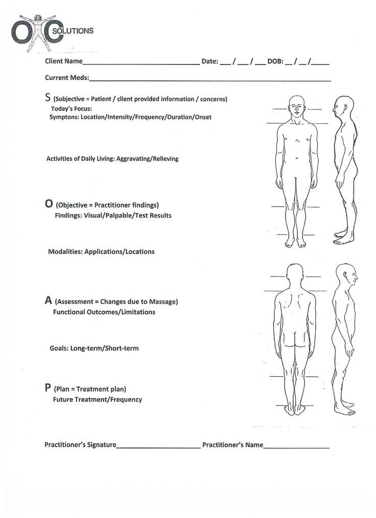 Massage therapy Treatment Plan Template soap Chart
