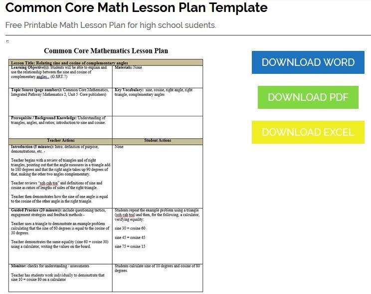 Math Lesson Plan Template Mon Core Math Lesson Plan Template