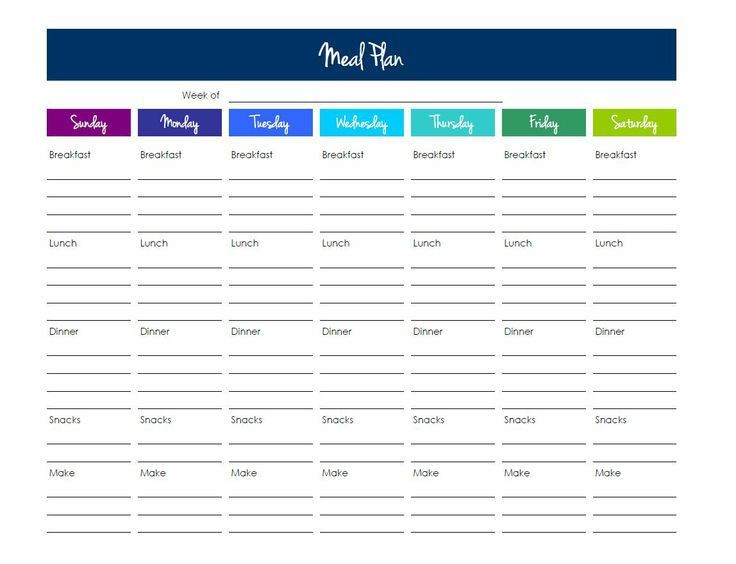 Meal Plan Template Free Meal Planning Template Excel Google Search